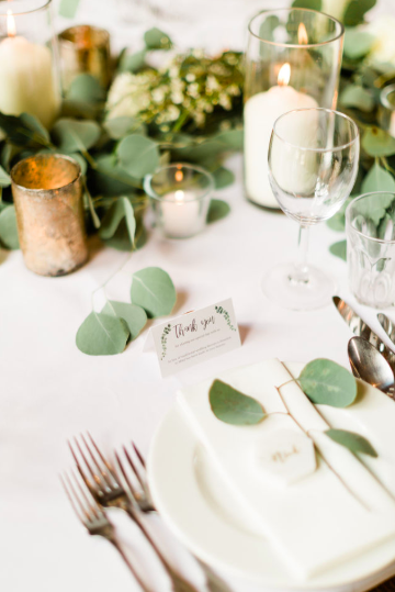 Gold and Green wedding table styling centrepiece ideas - florist Passion for Flowers