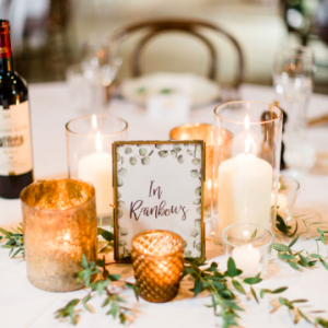 Gold bronze brass and glass wedding table styling ideas Passion for Flowers centrepieces