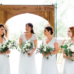 Shustoke Farm Barns wedding dove grey bridesmaids dresses timeless organic style white green bouquets Passion for Flowers