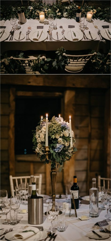 Gold candelabra wedding centrepieces Passion for Flowers barn wedding