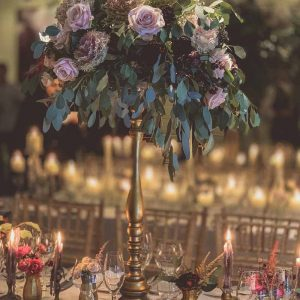 Tall autumn wedding centrepiece with brass and gold autumn flowers Passion for Flowers Hampton Manor florist