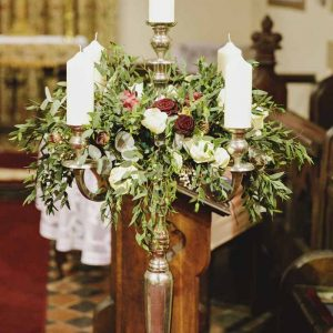 150cm Candelabra ceremony wedding flowers Birtsmorton Court wedding florist Passion for Flowers