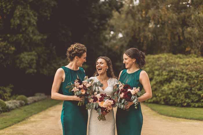 Autumn wedding bouquets green bridesmaids dresses