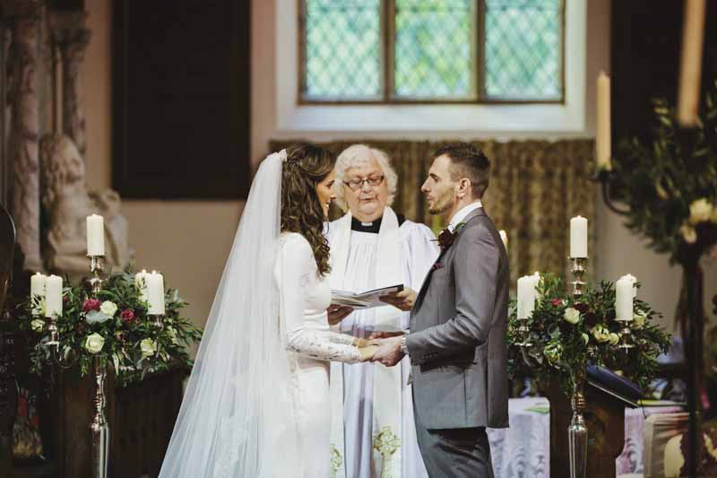 Birtsmorton Court church wedding ceremony Passion for Flowers candelabra