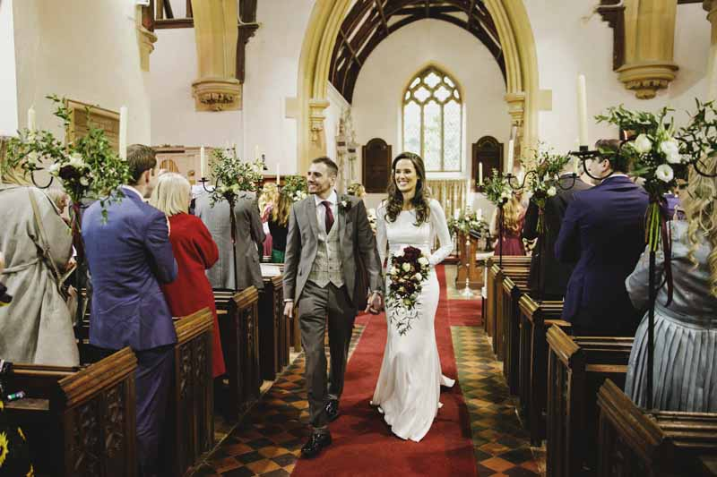 Birtsmorton Court church wedding ceremony winter wedding flowers Passion for Flowers