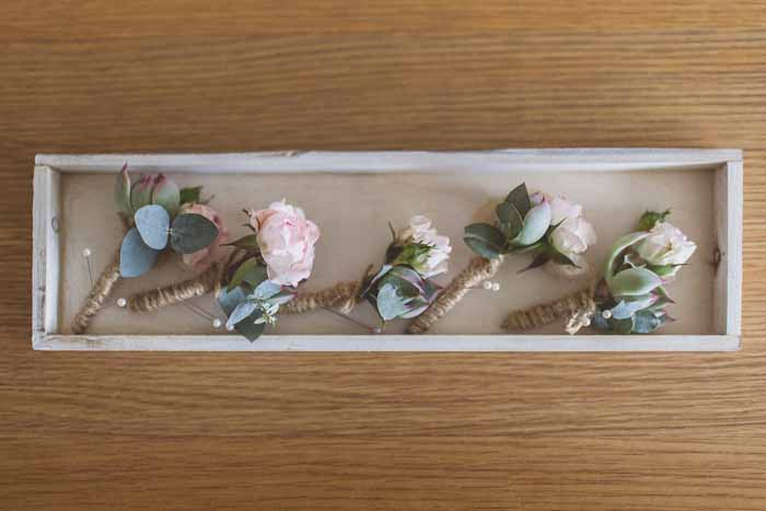 Blush pink rose button holes tied with twine Passion for Flowers