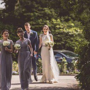 Bridesmaids bouquets cream roses classic flowers Hampton Manor