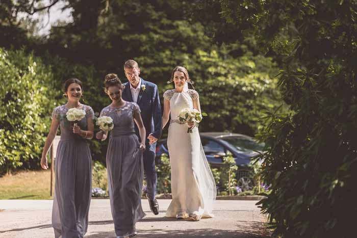 Bridesmaids bouquets cream roses classic flowers Hampton Manor