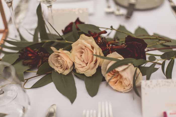 Bud pink roses wedding flowers
