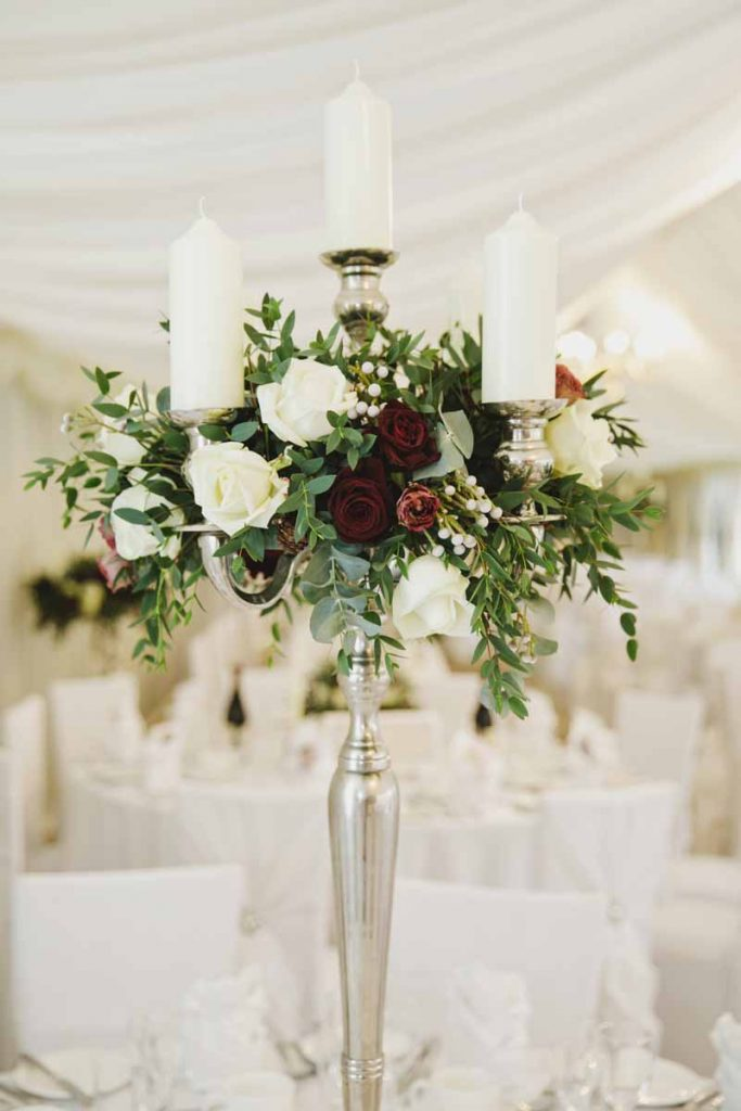 Candelabra wedding centrepieces marquee winter wedding Passion for Flowers