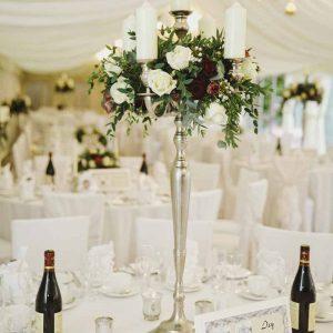 Candelabra wedding centrepieces winter wedding Birtsmorton Court Passion for Flowers