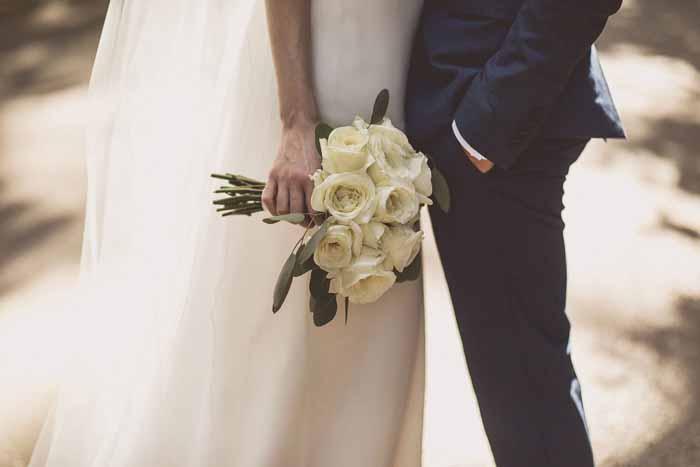 Classic bridal bouquets cream roses eucalyptus