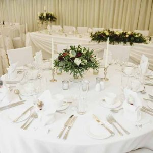 Low wedding centrepieces footed bowls winter wedding Birtsmorton Court