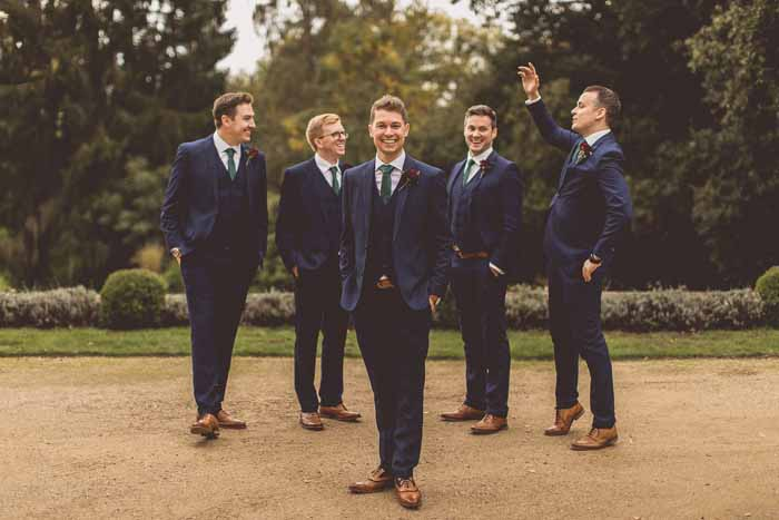 Navy suits groomsmen brown shoes Autumn wedding Manor House