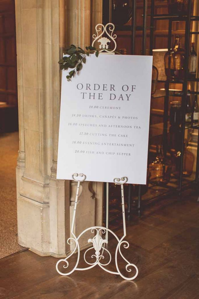 Order of the Day wedding signs