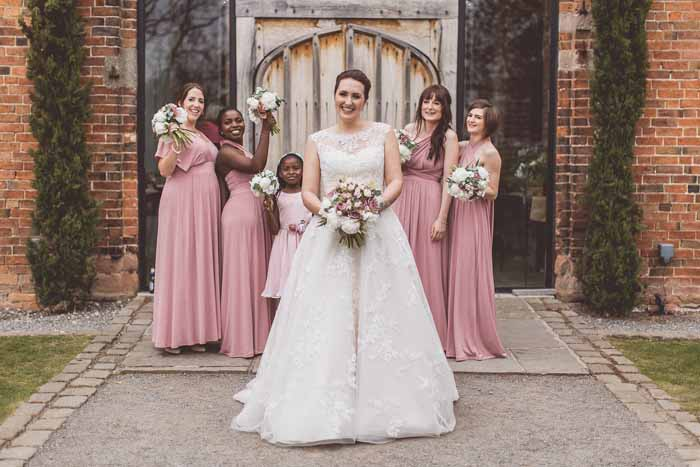 Pale dusky pink bridesmaids dresses