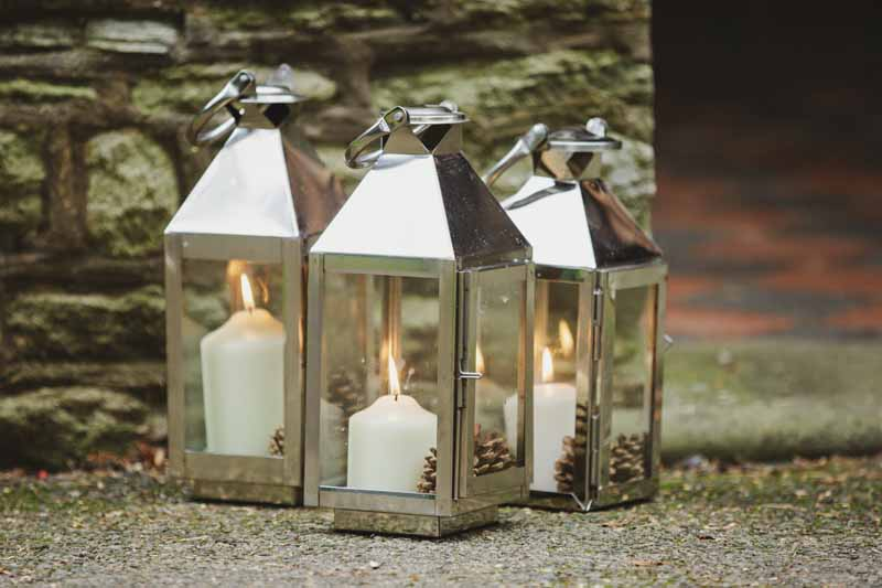 Silver coach lanterns weddings