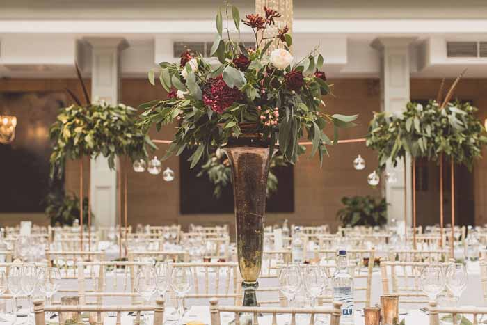 Tall bronze gold vases wedding centrepieces Autumn wedding