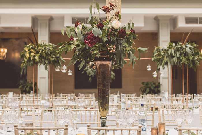 Tall bronze gold vases wedding centrepieces Autumn wedding
