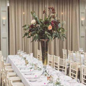 Wedding centrepieces tall vases gold bronze autumn