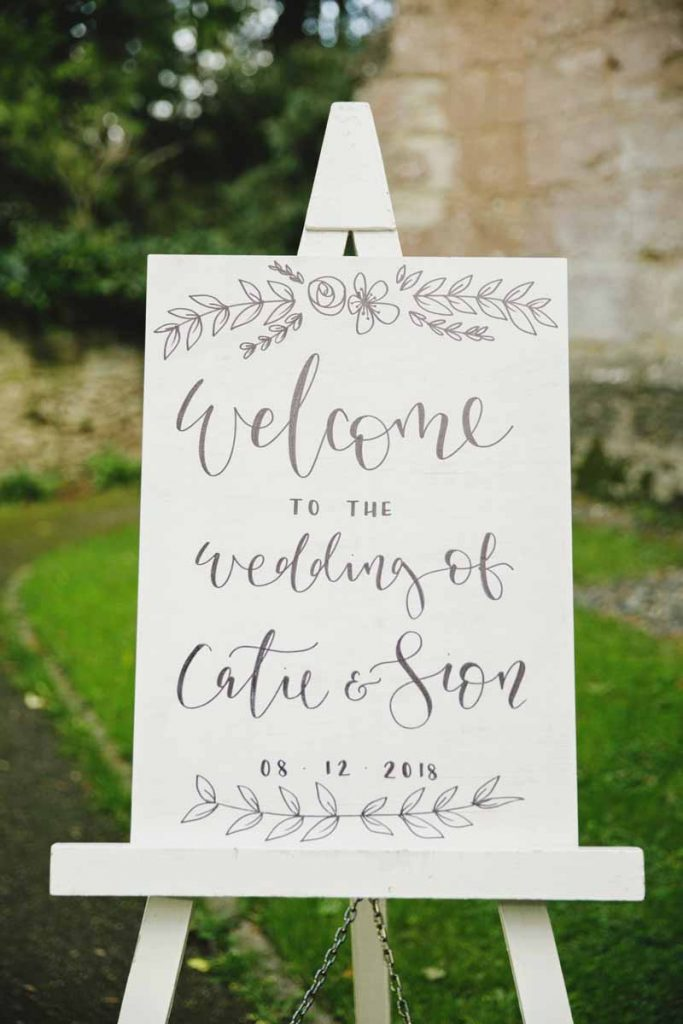 Wedding welcome sign hand painted white wash The Wedding of my Dreams