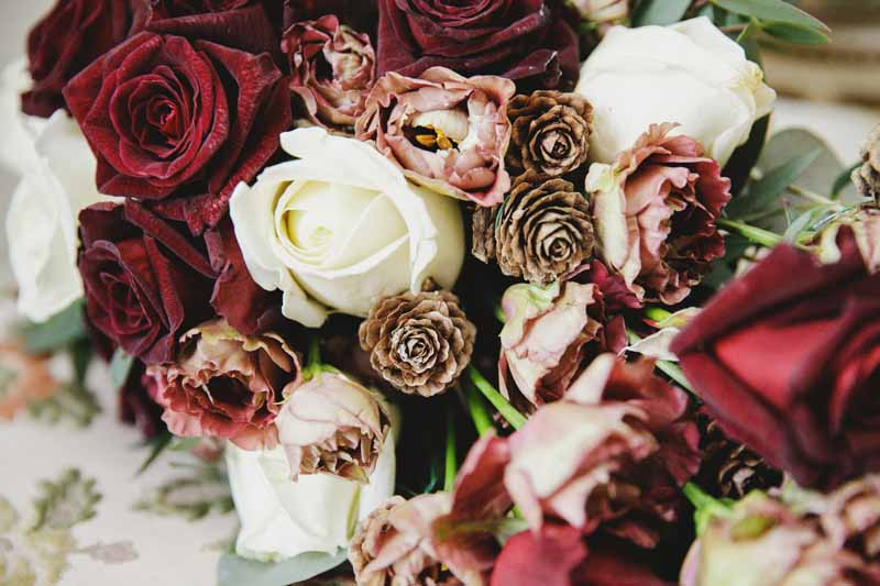 Winter wedding flowers deep red burgundy