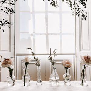 Bud vases window sill wedding styling Compton Verney by Passion for Flowers