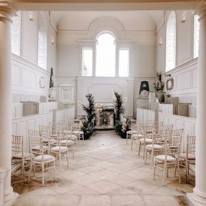 Compton Verney wedding chapel aisle decoration pampas grass
