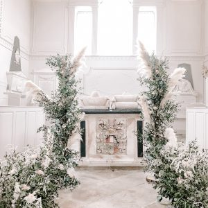 Pampas grass deconstructed arch ceremony flowers Passion for Flowers