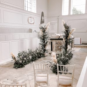 White chapel Pampas grass aisle decoration Passion for Flowers
