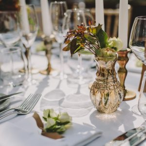Bronze wedding ideas bronze posy vases and candlesticks Passion for Flowers at Hampton Manor wedding