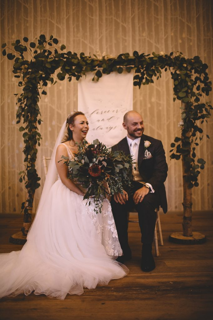 Ceremony backdrops foliage and linen signs Hampton Manor by Passion for Flowers