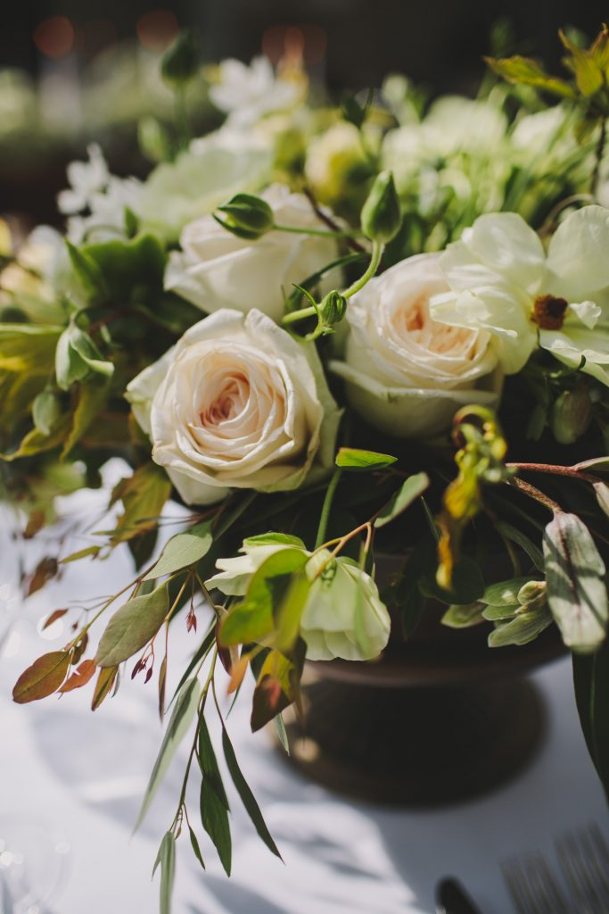 Footed bowl wedding centrepieces spring green and white flowers by Passion for Flowers