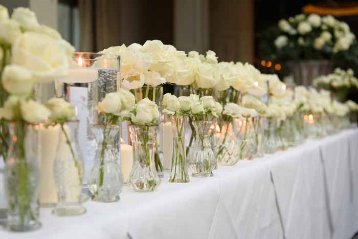 Glass bud vases top table wedding flowers Hampton Manor by Passion for Flowers