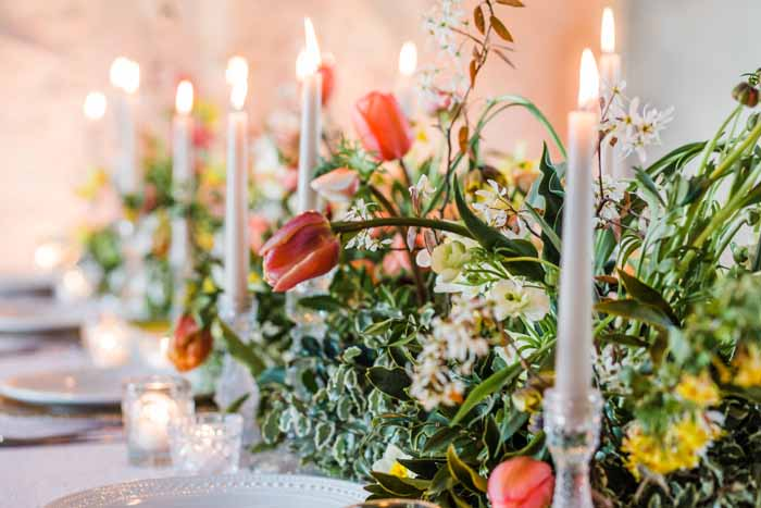 Grey candles wedding top tables