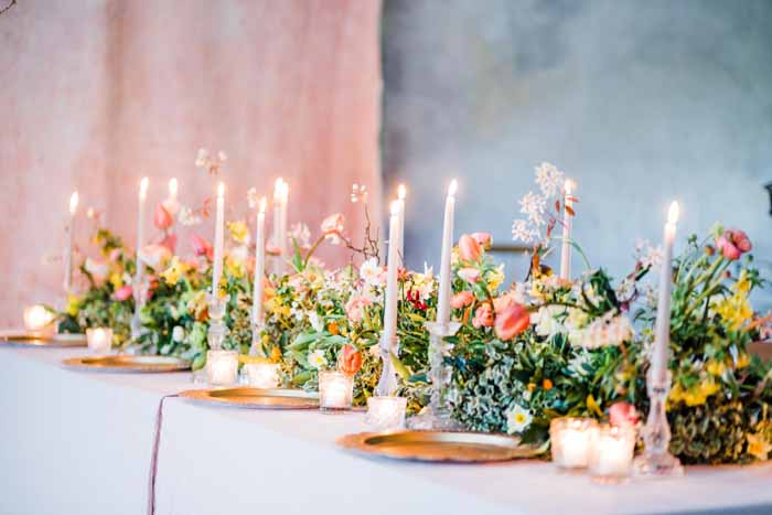 Long top table or guest table garland of flowers Passion for Flowers Karen Morgan