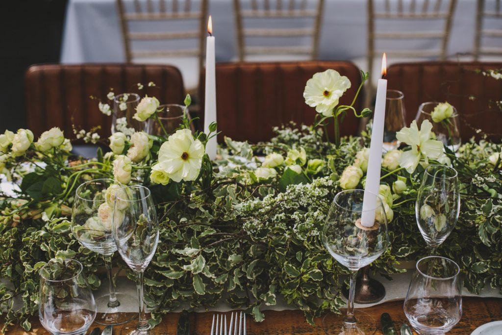 Table garlands at Hampton Manor by Passion for Flowers
