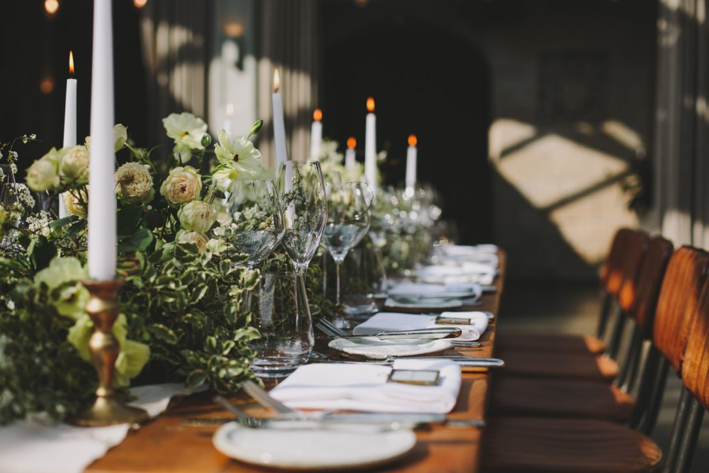 Top table flowers garlands long tables Passion for Flowers at Hampton Manor