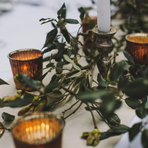 Top table wedding styling candles