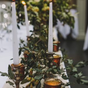 Wedding styling bronze candlesticks tealight holders top table Hampton Manor by Passion for Flowers