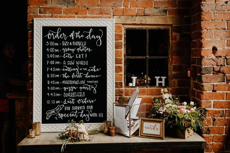 Blackboard wedding signs order of the day styling ideas Shustoke Farm Barns