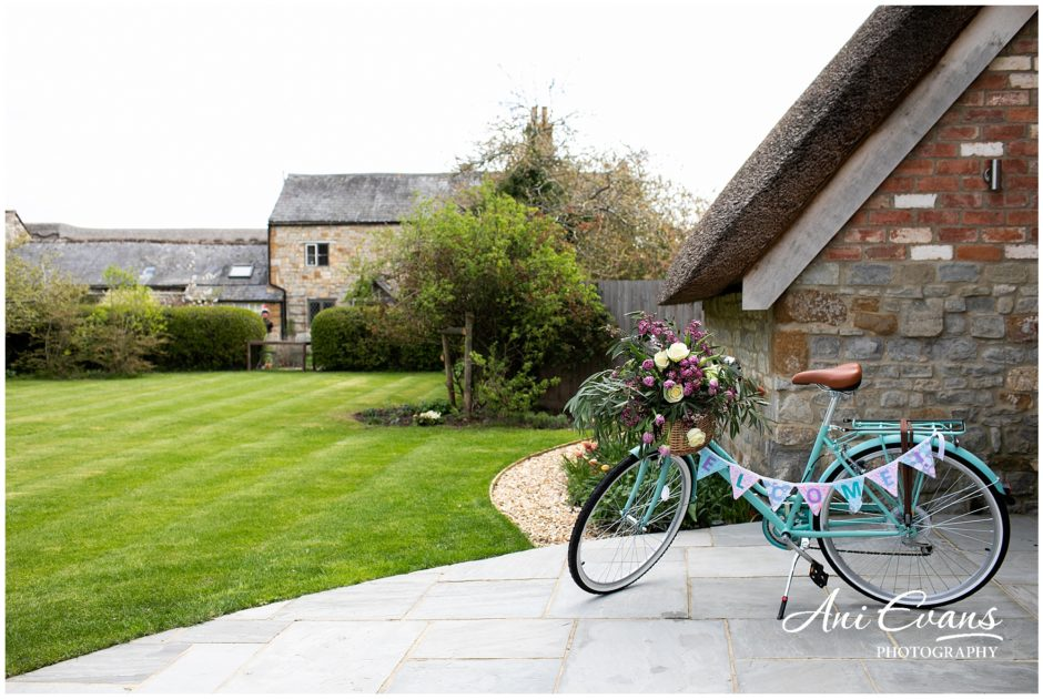 Blackwell Grange wedding florist bike of flowers