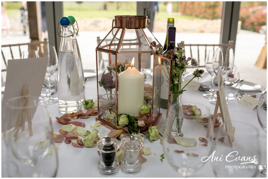 Blackwell Grange wedding florist copper lantern centrepieces