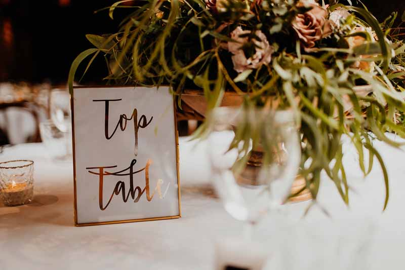Brass frame table numbers top table wedding ideas