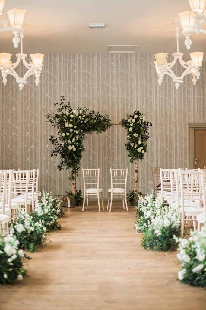Ceremony arches birch poles asymmetric