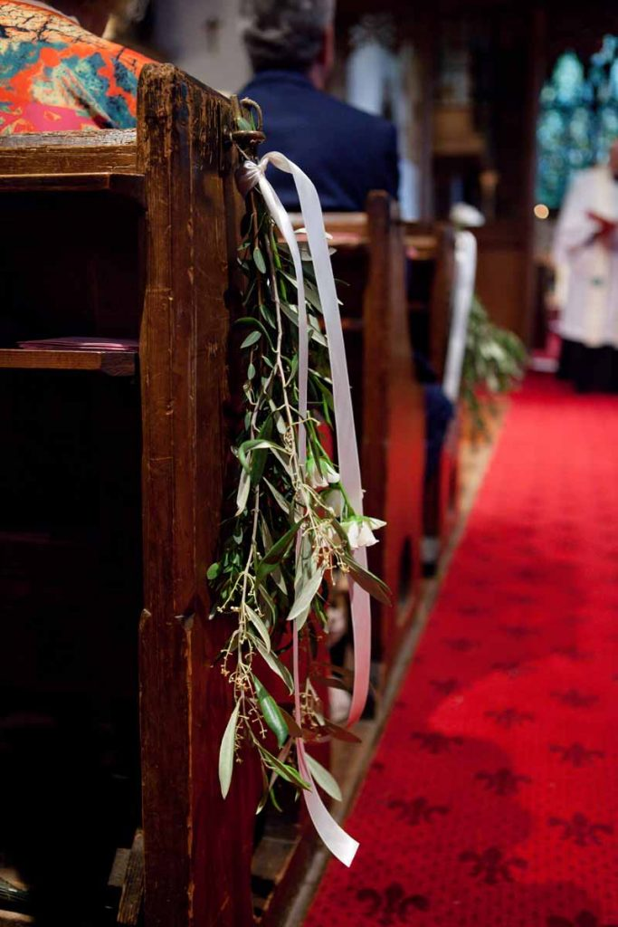 Church pew ends simple foliage ribbons