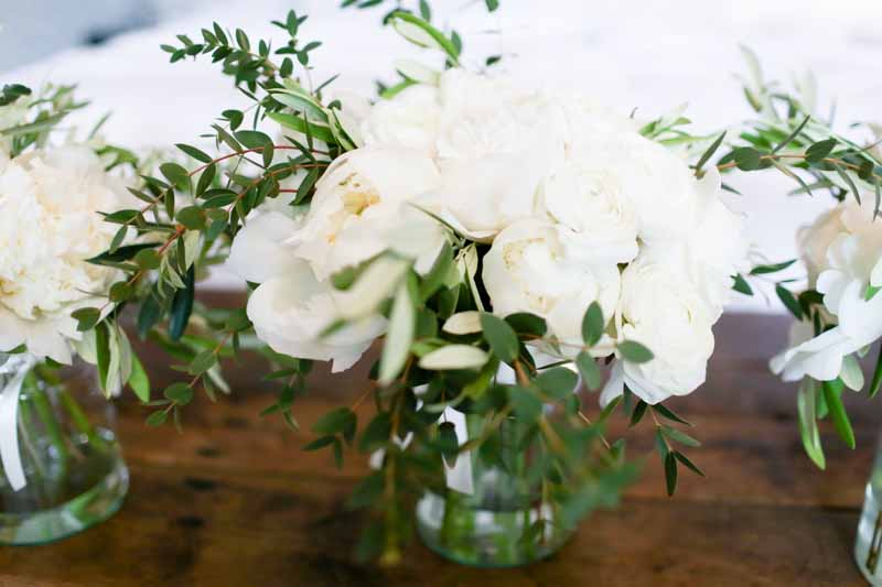 Elegant white green wedding bouquet