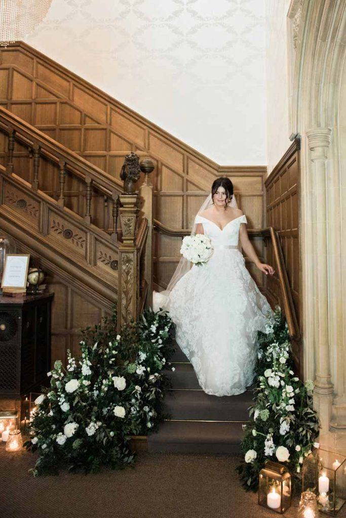 Hampton Manor wedding florist Passion for Flowers staircase designs
