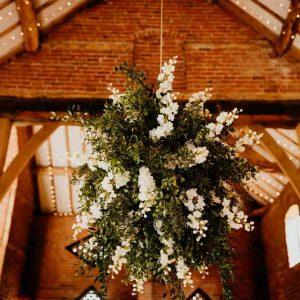 Hanging flower globes Shustoke Barns wedding florist Passion for Flowers