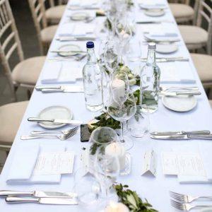 Long wedding table garlands candles for elegant look